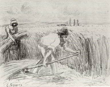 Camille Jacob Pissarro (French, 1830-1903). <em>Faucheur</em>, ca. 1894. Lithograph on zinc on Ingres paper affixed to wove paper, 9 3/8 x 12 in. (23.8 x 30.5 cm). Brooklyn Museum, Museum Collection Fund, 46.131.2 (Photo: Brooklyn Museum, CUR.46.131.2.jpg)