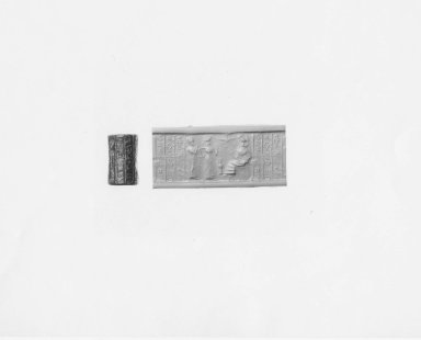 Ancient Near Eastern. <em>Cylinder Seal</em>, end of 3rd millennium-early 2nd millennium B.C.E. Stone, 7/8 x Diam. 1/2 in. (2.3 x 1.3 cm). Brooklyn Museum, Bequest of Mary T. Cockcroft, 46.156.5. Creative Commons-BY (Photo: Brooklyn Museum, CUR.46.156.5_NegA_print_bw.jpg)