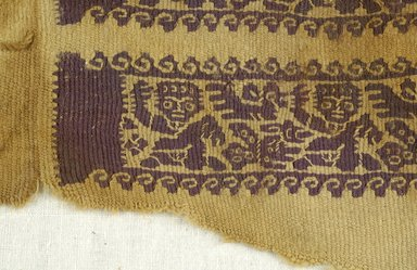 Coptic. <em>Sleeve Fragment with Figural and Animal Decoration</em>, 7th century C.E. (probably). Linen, wool, 4 3/4 x 12 1/16 in. (12 x 30.7 cm). Brooklyn Museum, Gift of Pratt Institute, 46.157.10. Creative Commons-BY (Photo: Brooklyn Museum (in collaboration with Index of Christian Art, Princeton University), CUR.46.157.10_detail01_ICA.jpg)