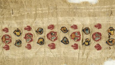 Coptic. <em>Band Fragment with Botanical Decoration</em>, 7th century C.E. Linen, wool, 2 15/16 x 18 11/16 in. (7.5 x 47.5 cm). Brooklyn Museum, Gift of Pratt Institute, 46.157.16. Creative Commons-BY (Photo: Brooklyn Museum (in collaboration with Index of Christian Art, Princeton University), CUR.46.157.16_detail01_ICA.jpg)