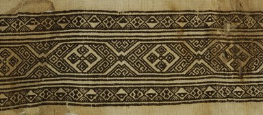 Coptic. <em>Band Fragment with Geometric Decoration</em>, 7th-9th century C.E. Linen, silk, 9 1/16 x 21 5/8 in. (23 x 55 cm). Brooklyn Museum, Gift of Pratt Institute, 46.157.18. Creative Commons-BY (Photo: Brooklyn Museum (in collaboration with Index of Christian Art, Princeton University), CUR.46.157.18_detail01_ICA.jpg)