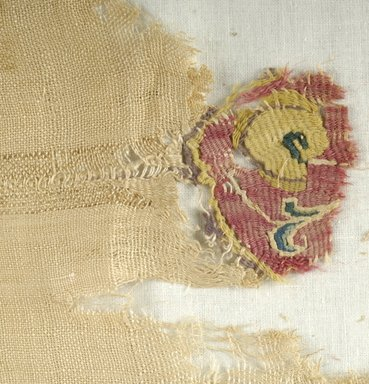 Coptic. <em>Fragment with Animal and Botanical Decoration</em>, 7th century C.E. (probably). Linen, wool, silk, 13 x 8 11/16 in. (33 x 22 cm). Brooklyn Museum, Gift of Pratt Institute, 46.157.7. Creative Commons-BY (Photo: Brooklyn Museum (in collaboration with Index of Christian Art, Princeton University), CUR.46.157.7_detail01_ICA.jpg)