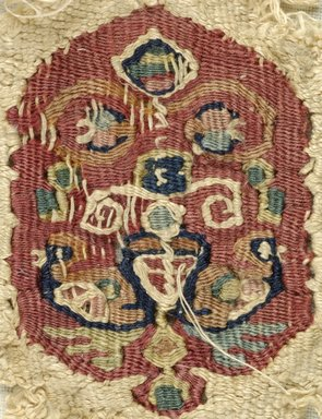 Coptic. <em>Fragment with Animal and Botanical Decoration</em>, 7th century C.E. (probably). Linen, wool, 2 3/4 x 1 11/16 in. (7 x 4.3 cm). Brooklyn Museum, Gift of Pratt Institute, 46.157.8. Creative Commons-BY (Photo: Brooklyn Museum (in collaboration with Index of Christian Art, Princeton University), CUR.46.157.8_detail01_ICA.jpg)