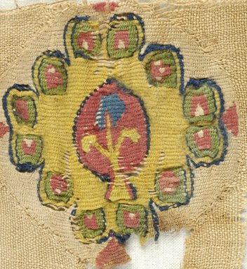 Coptic. <em>Fragment with Botanical Decoration</em>, 6th-7th century C.E. Linen, wool, 10 1/4 x 7 5/16 in. (26 x 18.5 cm). Brooklyn Museum, Gift of Pratt Institute, 46.157.9. Creative Commons-BY (Photo: Brooklyn Museum (in collaboration with Index of Christian Art, Princeton University), CUR.46.157.9_detail01_ICA.jpg)