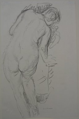 Alfred Henry Maurer (American, 1868-1932). <em>Standing Nude</em>, n.d. Conte crayon or chalk on paper, Sheet: 17 x 11 1/16 in. (43.2 x 28.1 cm). Brooklyn Museum, Gift of Hudson D. Walker, 46.202.1. © artist or artist's estate (Photo: Brooklyn Museum, CUR.46.202.1.jpg)