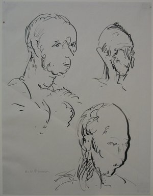 Alfred Henry Maurer (American, 1868-1932). <em>Studies: Three Heads</em>, n.d. Pen and ink on paper, Sheet: 11 x 8 1/2 in. (27.9 x 21.6 cm). Brooklyn Museum, Gift of Hudson D. Walker, 46.202.2. © artist or artist's estate (Photo: Brooklyn Museum, CUR.46.202.2.jpg)