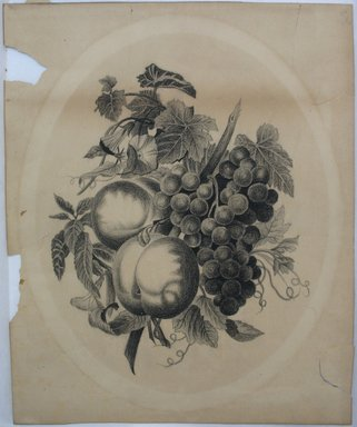 Unknown. <em>[Still Life with Apples, Grapes, and Morning Glories]</em>, late 19th century. Crayon on paper, Sheet: 15 1/4 x 12 3/8 in. (38.7 x 31.4 cm). Brooklyn Museum, Gift of Eleanor Curnow in memory of her mother, Mary Griffith Curnow, 46.34.2 (Photo: Brooklyn Museum, CUR.46.34.2.jpg)
