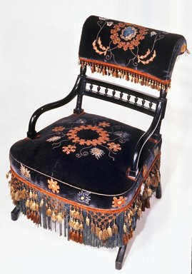 George A. Schastey (1839-1894). <em>Armchair, Aesthetic Movement style with Moorish style embroidery(Rockefeller Room)</em>, ca. 1880. Unidentified ebonized wood, original velvet upholstery, 29 1/2 x 19 3/4 x 16 1/4 in. (74.9 x 50.2 x 41.3 cm). Brooklyn Museum, Gift of John D. Rockefeller, Jr., 46.43.8. Creative Commons-BY (Photo: Brooklyn Museum, CUR.46.43.8.jpg)