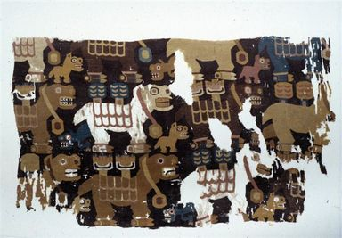 Tiwanaku. <em>Textile Fragment with Birthing Llamas</em>, 600-1000. Cotton, camelid fiber, 10 13/16 x 18 1/2 in. (27.5 x 47 cm). Brooklyn Museum, A. Augustus Healy Fund and Carll H. de Silver Fund, 46.46.2. Creative Commons-BY (Photo: Brooklyn Museum, CUR.46.46.2.jpg)