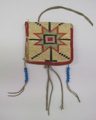 Nez Perce. <em>Woven Bag with geometric embroidery</em>. Fiber, hide, glass bead, wool, flannel, 3 1/2 x 3 7/8in. (8.9 x 9.8cm). Brooklyn Museum, Henry L. Batterman Fund, 46.78.3. Creative Commons-BY (Photo: , CUR.46.78.3_view01.jpg)