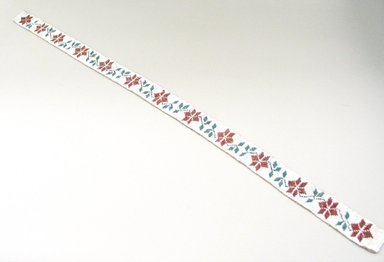 Hochunk. <em>Lined Beaded Belt</em>. Beads, gingham cloth, 77 x 3.5 cm / 30 1/4 x 1 3/8 in. Brooklyn Museum, Charles Stewart Smith Memorial Fund, 46.96.3. Creative Commons-BY (Photo: Brooklyn Museum, CUR.46.96.3_view1.jpg)