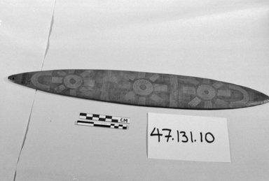 Arunta (Aboriginal Australian). <em>Bullroarer</em>, 19th or 20th century. Wood, ochre, 17 1/8 x 2 9/16 in. (43.5 x 6.5 cm). Brooklyn Museum, Henry L. Batterman Fund, 47.131.10. Creative Commons-BY (Photo: Brooklyn Museum, CUR.47.131.10_bw.jpg)