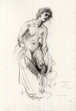 Lovis Corinth (German, 1858-1925). <em>Study of Nude Figure with Drapery</em>, 1908. Drawing in charcoal on wove paper, Sheet: 20 x 13 3/16 in. (50.8 x 33.5 cm). Brooklyn Museum, Gift of John B. Turner, 47.137.1 (Photo: Brooklyn Museum, CUR.47.137.1.jpg)