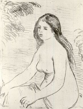 Pierre-Auguste Renoir (French, 1841-1919). <em>Femme Nue Assise</em>, 1906. Soft ground etching printed in sanguine on Japan paper, Plate: 7 3/8 x 5 7/8 in. (18.8 x 14.9 cm). Brooklyn Museum, Gift of John B. Turner, 47.137.3 (Photo: Brooklyn Museum, CUR.47.137.3.jpg)