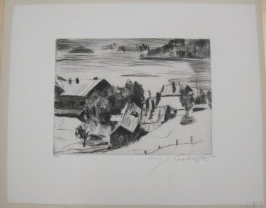 Lovis Corinth (German, 1858-1925). <em>The Village of Urfeld (Dorf Urfeld)</em>, 1920. Etching and drypoint on wove paper, Image: 7 3/8 x 9 11/16 in. (18.7 x 24.6 cm). Brooklyn Museum, Gift of Lewis Turner, 47.139.2.3 (Photo: Brooklyn Museum, CUR.47.139.2.3.jpg)