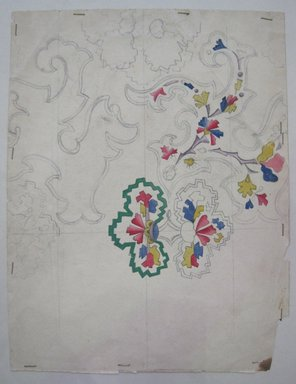 <em>Design Drawing</em>, early 19th century. Penicl and paint on paper, 7 1/2 x 9 3/4 in. (19.1 x 24.8 cm). Brooklyn Museum, Museum Collection Fund, 47.189.20 (Photo: Brooklyn Museum, CUR.47.189.20.jpg)