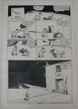 George Herriman (American, 1880-1944). <em>Krazy Kat</em>, 1937. Pen and ink on paper, Sheet: 24 9/16 x 16 7/8 in. (62.4 x 42.9 cm). Brooklyn Museum, Gift of Sylvan Byck, 47.216.1 (Photo: Brooklyn Museum, CUR.47.216.1.jpg)