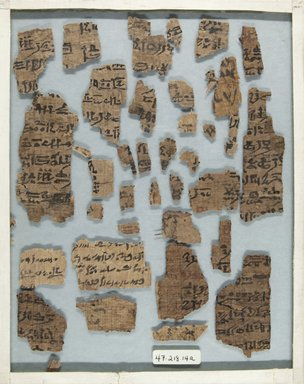 <em>Papyrus Fragments Inscribed In Demotic</em>, 332 B.C.E.-642 C.E. Papyrus, ink, a: Glass: 8 1/8 x 10 1/8 in. (20.7 x 25.7 cm). Brooklyn Museum, Bequest of Theodora Wilbour from the collection of her father, Charles Edwin Wilbour, 47.218.14a-b (Photo: Brooklyn Museum, CUR.47.218.14a_front_IMLS_PS5.jpg)