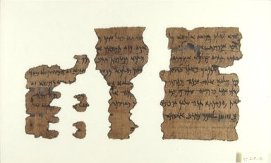 Aramaic. <em>Aramaic Papyrus</em>, Oct. 1, 399 B.C.E. Papyrus, ink, Overall: 5 1/16 × 9 1/2 in. (12.8 × 24.2 cm). Brooklyn Museum, Bequest of Theodora Wilbour from the collection of her father, Charles Edwin Wilbour, 47.218.151 (Photo: Brooklyn Museum, CUR.47.218.151_front_IMLS_PS5.jpg)