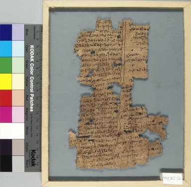 <em>Papyrus Fragments Inscribed in Demotic or Greek</em>, 2nd century C.E. Papyrus, ink, a: Glass: 8 1/16 x 10 1/16 in. (20.5 x 25.5 cm). Brooklyn Museum, Bequest of Theodora Wilbour from the collection of her father, Charles Edwin Wilbour, 47.218.21a-b (Photo: Brooklyn Museum, CUR.47.218.21a_IMLS_PS5.jpg)