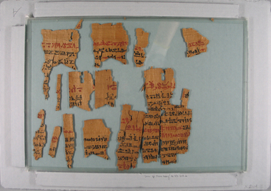 <em>Medical Text Inscribed in Hieratic</em>, 664-525 B.C.E. Papyrus, ink, a: Small Box of Fragments: 1 3/4 x 4 1/16 x 4 1/16 in. (4.5 x 10.3 x 10.3 cm). Brooklyn Museum, Bequest of Theodora Wilbour from the collection of her father, Charles Edwin Wilbour, 47.218.2a-g (Photo: , CUR.47.218.2_X2004.12_view1.jpg)