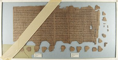 <em>Confirmation of Royal Power at the New Year Papyrus</em>, 664-610 B.C.E. or slightly later. Papyrus, ink, Overall: 9 13/16 × 76 3/8 in. (25 × 194 cm). Brooklyn Museum, Bequest of Theodora Wilbour from the collection of her father, Charles Edwin Wilbour, 47.218.50a-c (Photo: Brooklyn Museum, CUR.47.218.50a_IMLS_PS5.jpg)