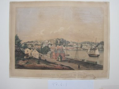 Fitz Henry Lane (American, 1804-1865). <em>View of Norwich, from the West Side of the River</em>, 1849. Color lithograph on wove paper, Sheet: 14 5/8 x 19 in. (37.1 x 48.3 cm). Brooklyn Museum, Dick S. Ramsay Fund, 47.6.1 (Photo: Brooklyn Museum, CUR.47.6.1_view1.jpg)