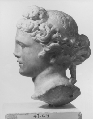<em>Marble Head, Probably a Goddess</em>, 2nd century B.C.E. Marble, 7 5/8 x 4 9/16 in. (19.4 x 11.6 cm). Brooklyn Museum, Gift of Mrs. Leo R. Healy, 47.69. Creative Commons-BY (Photo: Brooklyn Museum, CUR.47.69_NegF_print_bw.jpg)