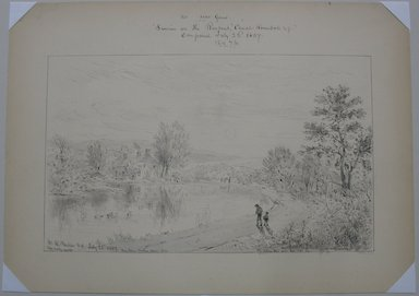 William Rickarby Miller (American, 1818-1893). <em>Sunrise on the Rondout Canal, Rosendale, N.Y.</em>, July 22, 1887. Pen, ink, wash and graphite on paper, Sheet: 10 13/16 x 15 in. (27.5 x 38.1 cm). Brooklyn Museum, Dick S. Ramsay Fund, 47.7.1 (Photo: Brooklyn Museum, CUR.47.7.1.jpg)
