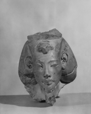 <em>Head of Akhenaten Made in Two Pieces</em>, 1942-1943 C.E. Limestone, 4 1/16 × 3 5/8 in. (10.3 × 9.2 cm). Brooklyn Museum, Gift of Jean Tano, 47.88a-b. Creative Commons-BY (Photo: , CUR.47.88a-b_NegA_print_bw.jpg)