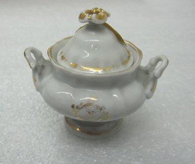 Tucker and Hemphill. <em>Miniature Teaset</em>, 1831-1837. Porcelain, Teapot: 3 in. (7.6 cm). Brooklyn Museum, Gift of Arthur W. Clement, 48.1.1a-h. Creative Commons-BY (Photo: Brooklyn Museum, CUR.48.1.1c-d_front.jpg)