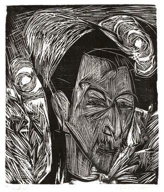 Ernst Ludwig Kirchner (German, 1880-1938). <em>David Müller</em>, 1919. Woodcut on wove paper, Sheet: 16 1/8 x 14 5/16 in. (41 x 36.4 cm). Brooklyn Museum, Charles Stewart Smith Memorial Fund, 48.135.1 (Photo: Brooklyn Museum, CUR.48.135.1.jpg)