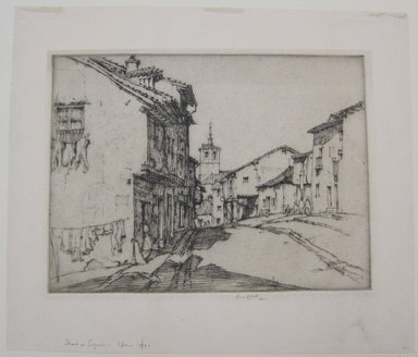 Ernest David Roth (American, 1879-1964). <em>Street in Segovia, Spain</em>, 1921. Etching on laid paper, image: 7 1/2 x 9 13/16 in. (19 x 25 cm). Brooklyn Museum, Gift of William Lybrand, 48.193.79 (Photo: Brooklyn Museum, CUR.48.193.79.jpg)