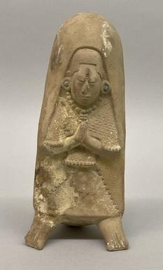 Maya. <em>Buffware Figure Whistle</em>. Clay, 7 5/8 × 3 1/2 × 3 1/4 in. (19.4 × 8.9 × 8.3 cm). Brooklyn Museum, 48.2.13. Creative Commons-BY (Photo: Brooklyn Museum, CUR.48.2.13_view01.jpg)