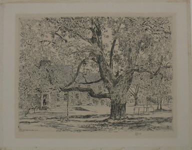 Frederick Childe Hassam (American, 1859-1935). <em>The Big Horse Chestnut Tree, Easthampton</em>, 1928. Etching Brooklyn Museum, By exchange, 48.209.2 (Photo: Brooklyn Museum, CUR.48.209.2.jpg)