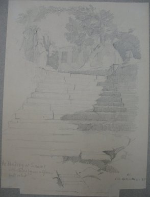 Edwin Howland Blashfield (American, 1848-1936). <em>Erment, South of Luxor, Landing Stairs on Westbank</em>, 1887. Graphite on paper mounted to paperboard, Sheet: 10 5/8 x 7 7/8 in. (27 x 20 cm). Brooklyn Museum, Gift of John H. Field, 48.217.11 (Photo: Brooklyn Museum, CUR.48.217.11.jpg)