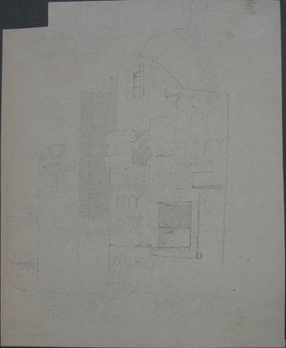Edwin Howland Blashfield (American, 1848-1936). <em>Medinet Habu, Fortified Gate</em>, n.d. Graphite on paper mounted to brown paperboard, Sheet (irregular): 13 1/8 x 10 11/16 in. (33.3 x 27.1 cm). Brooklyn Museum, Gift of John H. Field, 48.217.12 (Photo: Brooklyn Museum, CUR.48.217.12.jpg)