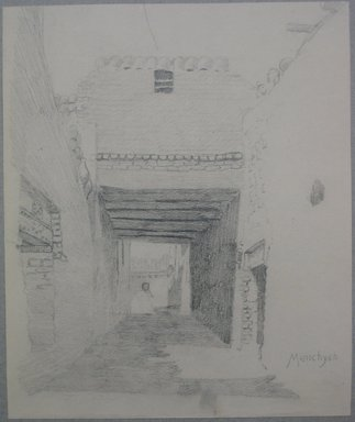 Edwin Howland Blashfield (American, 1848-1936). <em>El Manshah</em>, n.d. Graphite on paper mounted to paperboard, Sheet: 11 x 9 1/8 in. (27.9 x 23.2 cm). Brooklyn Museum, Gift of John H. Field, 48.217.14a (Photo: Brooklyn Museum, CUR.48.217.14a.jpg)