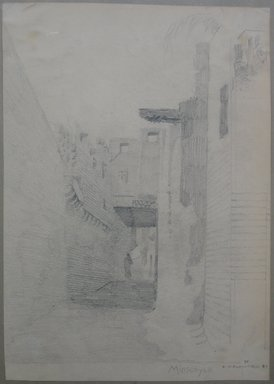 Edwin Howland Blashfield (American, 1848-1936). <em>El Manshah</em>, 1887. Graphite on paper mounted on paperboard, Sheet: 14 1/16 x 9 15/16 in. (35.7 x 25.2 cm). Brooklyn Museum, Gift of John H. Field, 48.217.14b (Photo: Brooklyn Museum, CUR.48.217.14b.jpg)