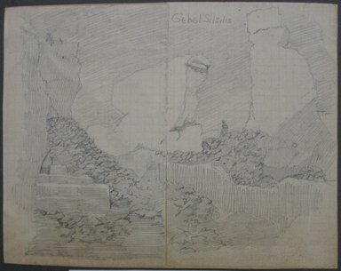 Edwin Howland Blashfield (American, 1848-1936). <em>Gebel Silsila</em>, n.d. Graphite on preprinted graph paper mounted to paper and then to paperboard, Sheet: 5 11/16 x 7 1/4 in. (14.4 x 18.4 cm). Brooklyn Museum, Gift of John H. Field, 48.217.15c (Photo: Brooklyn Museum, CUR.48.217.15c.jpg)