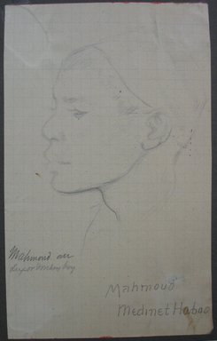Edwin Howland Blashfield (American, 1848-1936). <em>Mahmoud Medinet Haboo</em>, n.d. Graphite on preprinted graph paper mounted to paperboard, Sheet: 5 5/8 x 3 1/2 in. (14.3 x 8.9 cm). Brooklyn Museum, Gift of John H. Field, 48.217.15d (Photo: Brooklyn Museum, CUR.48.217.15d.jpg)