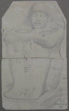 Edwin Howland Blashfield (American, 1848-1936). <em>Block Statue of Dynasty XIX</em>, 1887. Graphite on preprinted graph paper mounted to paperboard, Sheet: 6 1/16 x 3 11/16 in. (15.4 x 9.4 cm). Brooklyn Museum, Gift of John H. Field, 48.217.16c (Photo: Brooklyn Museum, CUR.48.217.16c.jpg)