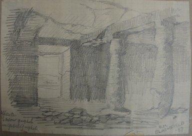 Edwin Howland Blashfield (American, 1848-1936). <em>Rock-Cut Tomb at Desrel Melek</em>, 1887. Graphite on preprinted graph paper mounted to paperboard, Sheet: 3 5/8 x 5 1/16 in. (9.2 x 12.9 cm). Brooklyn Museum, Gift of John H. Field, 48.217.17a (Photo: Brooklyn Museum, CUR.48.217.17a.jpg)