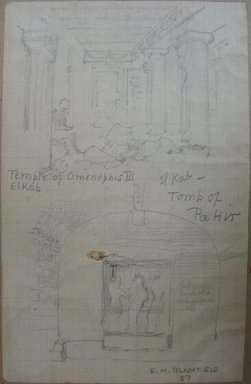 Edwin Howland Blashfield (American, 1848-1936). <em>Temple of Amenhotep III and Tomb of Paheri, Elkab</em>, 1887. Graphite on preprinted graph paper mounted to paperboard, Sheet: 5 5/8 x 3 9/16 in. (14.3 x 9 cm). Brooklyn Museum, Gift of John H. Field, 48.217.17c (Photo: Brooklyn Museum, CUR.48.217.17c.jpg)