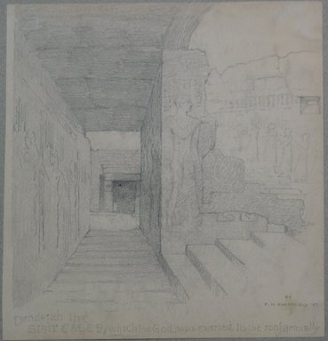 Edwin Howland Blashfield (American, 1848-1936). <em>Dendera, Temple of Hathar, Stairway Leading to Roof</em>, 1887. Graphite on medium cream smooth wove paper, Sheet: 10 13/16 x 10 5/16 in. (27.5 x 26.2 cm). Brooklyn Museum, Gift of John H. Field, 48.217.7 (Photo: Brooklyn Museum, CUR.48.217.7.jpg)