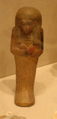 <em>Shabti of Setau</em>, ca. 1352-1322 B.C.E. Wood, pigment, 9 1/4 x 3 1/8 in. (23.5 x 8 cm). Brooklyn Museum, Charles Edwin Wilbour Fund, 48.26.3. Creative Commons-BY (Photo: Brooklyn Museum, CUR.48.26.3_wwgA-3.jpg)