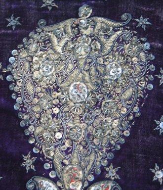 <em>Child's Embroidered Jacket with Sequins</em>. Velvet, Metallic thread, shoulder to shoulder: 11 7/16 x 16 9/16 in. (29 x 42 cm). Brooklyn Museum, Gift of Mrs. Robert Presnell, 48.35 (Photo: Brooklyn Museum, CUR.48.35_detail1.jpg)