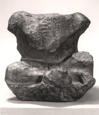 <em>Fragmentary Statue of a Figure with Dwarfism</em>, 1st century B.C.-1st century C.E. Granite, 16 5/16 x 16 3/4 x 18 1/2 in. (41.5 x 42.5 x 47 cm). Brooklyn Museum, Charles Edwin Wilbour Fund, 48.9. Creative Commons-BY (Photo: Brooklyn Museum, CUR.48.9_negA_bw.jpg)