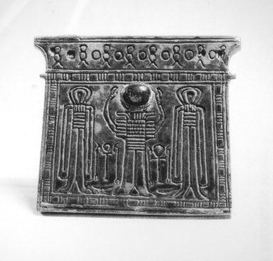 <em>Pectoral of Pylon</em>, ca. 1352-1292 B.C.E. or later. Steatite, glaze, 3 1/16 × 3 3/8 × 1/4 in. (7.7 × 8.6 × 0.6 cm). Brooklyn Museum, Charles Edwin Wilbour Fund, 49.134. Creative Commons-BY (Photo: Brooklyn Museum, CUR.49.134_NegB_print_bw.jpg)