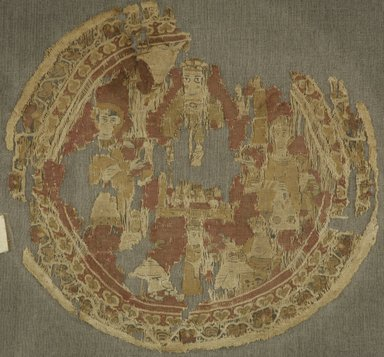 Coptic. <em>Roundel Fragment with Figural Decoration</em>, 6th-7th century C.E. Linen, wool, Diam. 7 1/2 in. (19.1 cm). Brooklyn Museum, Charles Edwin Wilbour Fund, 49.19. Creative Commons-BY (Photo: Brooklyn Museum (in collaboration with Index of Christian Art, Princeton University), CUR.49.19_ICA.jpg)